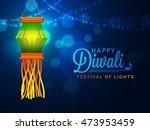glossy diwali lamp  kandil ... | Shutterstock .eps vector #473953459