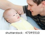 happy family  father and baby   ... | Shutterstock . vector #47395510