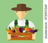country farmer who keeps fresh...   Shutterstock .eps vector #473957269
