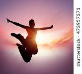 jump. jumping girl vector... | Shutterstock .eps vector #473957371