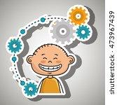 cartoon boy gears icon vector... | Shutterstock .eps vector #473967439