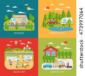 motorhome concept icons set... | Shutterstock . vector #473997064