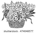 vector doodle floral... | Shutterstock .eps vector #474048577