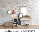brick wall horizontal banner... | Shutterstock . vector #474056419