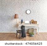brick wall horizontal banner... | Shutterstock . vector #474056425