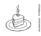 drawing of a slice of birthday... | Shutterstock .eps vector #47406610