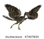 3D render featuring an archaeopteryx, a prehistoric bird. - stock photo