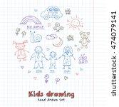 kids drawings doodle set.... | Shutterstock .eps vector #474079141