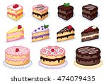 cake clipart set  colorful... | Shutterstock .eps vector #474079435