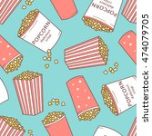 collection of popcorn hand... | Shutterstock .eps vector #474079705