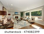 cozy living room interior with... | Shutterstock . vector #474082399