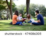 group of young students sitting ...   Shutterstock . vector #474086305