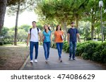 group of young students walking ... | Shutterstock . vector #474086629