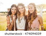 Three Cute Beautiful Hippie...