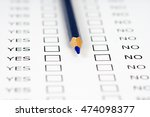 yes no empty questionnaire blue ... | Shutterstock . vector #474098377