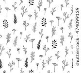 ink doodle flowers   seamless... | Shutterstock .eps vector #474099139