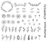collection of hand drawn... | Shutterstock .eps vector #474099151