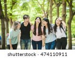 group of happy college students ... | Shutterstock . vector #474110911