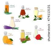 vector set of bottles filled... | Shutterstock .eps vector #474113131