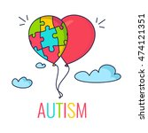 autism awareness poster with... | Shutterstock .eps vector #474121351