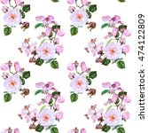 seamless watercolor floral... | Shutterstock . vector #474122809