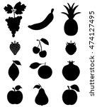 black silhouettes of fruit... | Shutterstock .eps vector #474127495