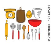 doodle icons. kitchen... | Shutterstock .eps vector #474129259