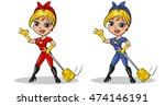 cute woman superhero with a... | Shutterstock .eps vector #474146191