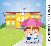 school kids sharing an umbrella ... | Shutterstock .eps vector #474158311