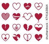 red hearts icon set isolated on ... | Shutterstock .eps vector #474163864