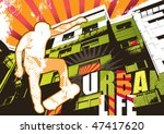 Urban life poster with skateboarder. Vector illustration. - stock vector