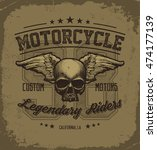 vintage road king t shirt... | Shutterstock .eps vector #474177139