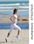 young woman jogging on the... | Shutterstock . vector #474227614