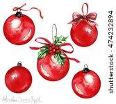 watercolor christmas clipart  ... | Shutterstock . vector #474232894