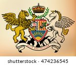 coat of arms of knight. griffin ... | Shutterstock .eps vector #474236545