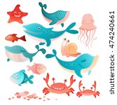 vector illustration of a sea... | Shutterstock .eps vector #474240661