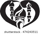 black white stylized mosque... | Shutterstock .eps vector #474243511