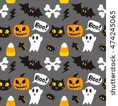 halloween cartoon seamless... | Shutterstock .eps vector #474245065