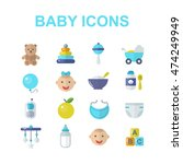 baby icons set. baby toys ... | Shutterstock .eps vector #474249949