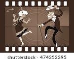 Cartoon Elderly Couple Dancing...