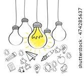 bulb paperplane gears rocket... | Shutterstock .eps vector #474285637