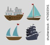 boats styles set icon vector... | Shutterstock .eps vector #474303541