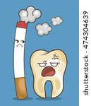 cigarette and teeth character... | Shutterstock .eps vector #474304639