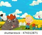cartoon happy and funny scene... | Shutterstock . vector #474312871