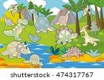 cartoon scene   dinosaur land   ...   Shutterstock . vector #474317767