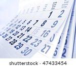 Close Up A Blue Toned Calendar...