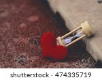 Sand Clock With Red Heart  Lov...