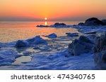 winter seaside sunrise   Shutterstock . vector #474340765