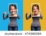 mood swings in a girl | Shutterstock . vector #474380584