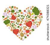 heart shape vegetable health... | Shutterstock .eps vector #474388321